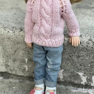 Розовый свитер для куклы Паола Рейна 32 см, Вязаный свитер для Paola Reina, Одежда для Паолок
