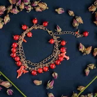 Дизайнерский браслет с коралловыми подвесочками❤💛