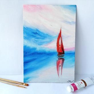 Картина маслом парусник в море, Картина парусник на море, Авторская живопись, Картина на подарок