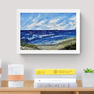 Картина маслом берег океана, Морской пейзаж маслом, Красивое море маслом, Авторская живопись