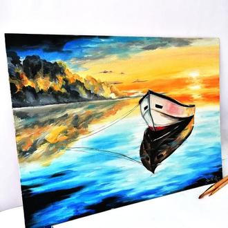 Картина маслом лодка, Лодка на воде картина, Интерьерная картина маслом, Озеро пейзаж