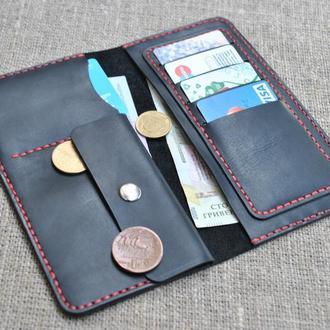 Черный портмоне из натуральной кожи crazy horse K12-0+red