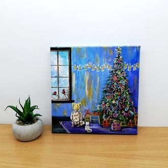 Картина маслом Рождество, Картина с ёлкой, Картина с подарками, Праздничная картина
