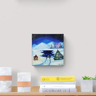 Олійний живопис озеро в лісі, Зимовий пейзаж маслом, Нічне небо маслом, Авторський живопис