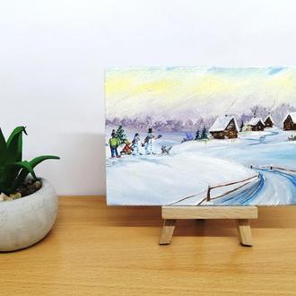 Картина миниатюра маслом снежная зима, Маленькая картина маслом, Зимнее село картина