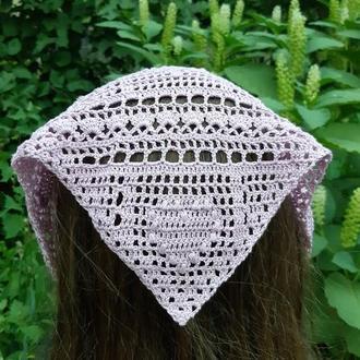Косынка бандана для девочки сиреневая косынка на голову вязаная бандана с сердечками