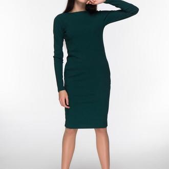 Трикотажное платье темно-зеленого цвета