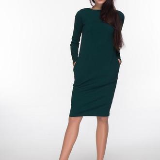 Трикотажное платье темно-зеленого цвета ручной работы купить в ... 20cbe5ca4b55a