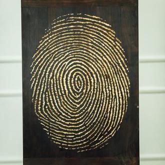 Настенное панно деревянное отпечаток пальца