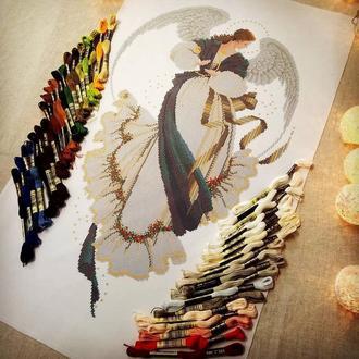 Ангел Надії на білому габардині Схема для вишивки нитками DMC Angel of Hope Нитки в комплекті!