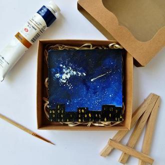 Миниатюра маслом ночной город, Декор для стола и холодильника, Ночной пейзаж, Городской пейзаж