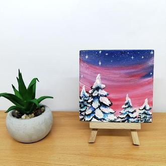 Картина-магнитик зима, Оригинальная масляная живопись, Зимняя ночь картина, Зимний пейзаж маслом