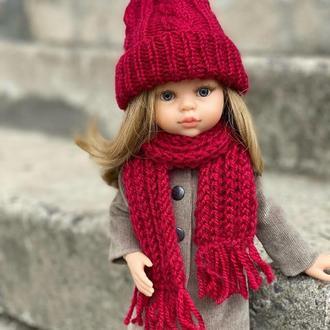 Вязаный комплект Шапка и Шарф для куклы Паола Рейна, Одежда для Paola Reina 32 см