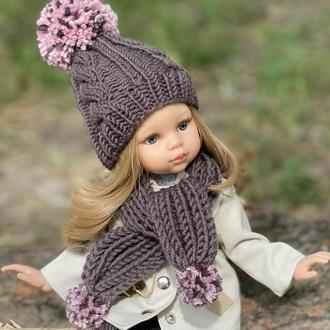 Вязаный комплект шапка и шарф для Paola Reina, Одежда для куклы Паола Рейна 32 см