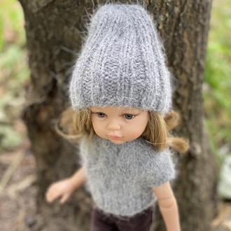 Вязаная пушистая шапочка и кофточка для Паолы Рейна 32 см, Одежда для кукол Paola Reina
