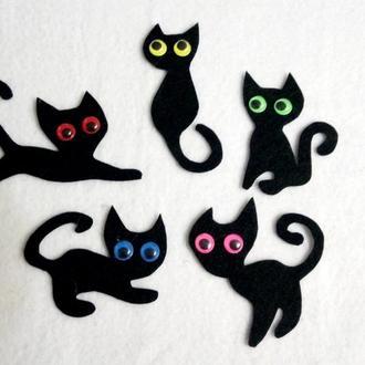 Набор нашивок черный кот для костюма ведьмочки