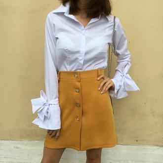 Белая рубашка с длинным рукавом для женщин