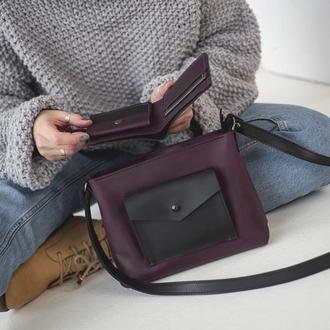 Комплект кожаная женская сумка на молнии + маленький кошелек, цвет марсала с черным