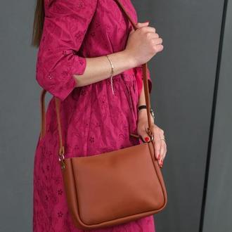 Кожаная женская сумочка Надежда, кожа Grand, цвет коньяк