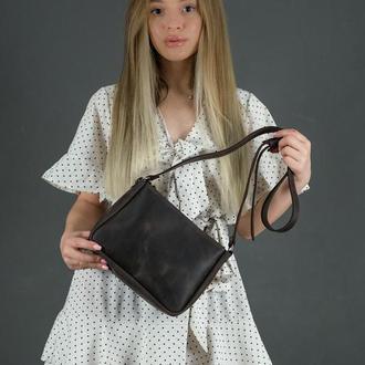 Шкіряна жіноча сумочка Надія, вінтажна шкіра, колір шоколад