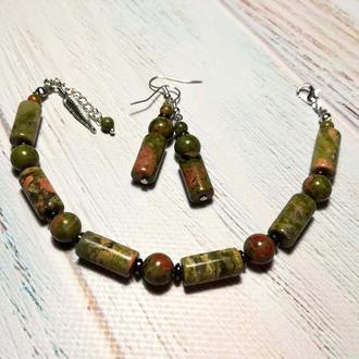 Комплект украшений из Гелиотропа (Унакит) браслет + серьги \ Sn - 0090