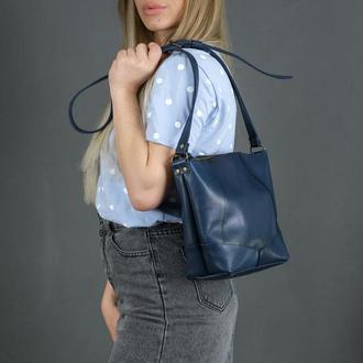 Кожаный шоппер Диамант, кожа итальянский краст, цвет синий