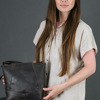 Кожаный шоппер Диамант, винтажная кожа, цвет шоколад
