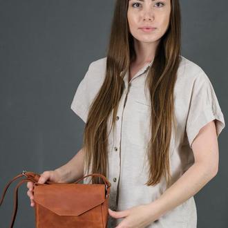 Кожаная женская сумочка Лилу, винтажная кожа, цвет  коньяк