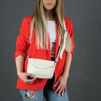 Кожаная женская сумочка Лилу, гладкая кожа, цвет кремовый
