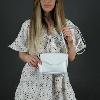 Кожаная женская сумочка Лилу, гладкая кожа, цвет белый