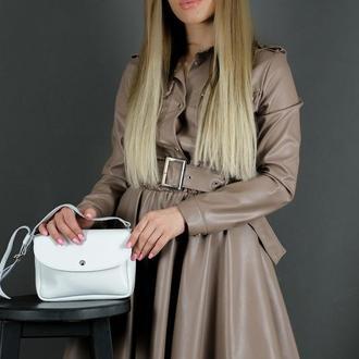 Кожаная женская сумочка Мия, гладкая кожа, цвет белый