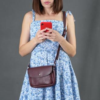 Кожаная женская сумочка Мия, кожа итальянский краст, цвет бордо