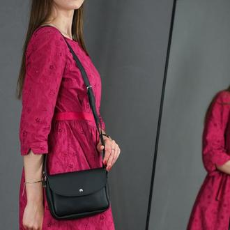 Шкіряна жіноча сумочка Мія, шкіра Grand, колір чорний