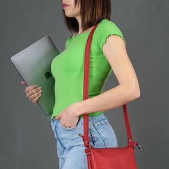 Женская кожаная сумочка Лето, кожа итальянский краст, цвет красный