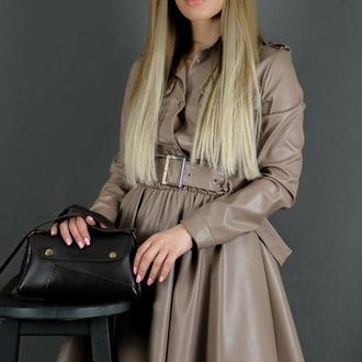 Женская кожаная сумка Френки, гладкая кожа, цвет шоколад