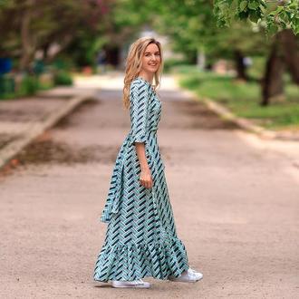 Платье-халат в геометрический принт