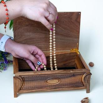 Ореховая шкатулка с текстурой, резьбой для украшений, памятных вещей, декор в дом