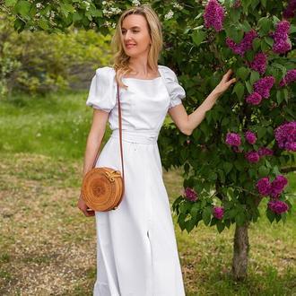 "Белое макси платье с рукавом ""фонарик"""