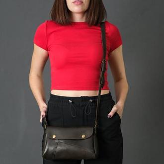 Шкіряна жіноча сумочка Френкі, шкіра італійський краст, колір кава