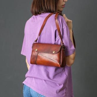 Шкіряна жіноча сумочка Френкі, шкіра італійський краст, колір вишня
