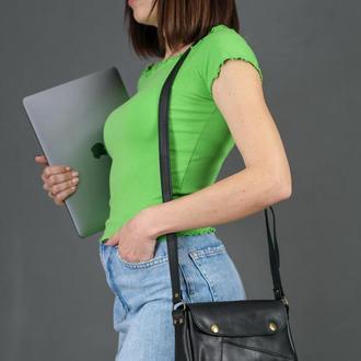 Шкіряна жіноча сумочка Френкі, шкіра італійський краст, колір чорний