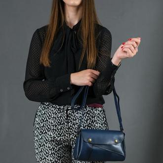 Шкіряна жіноча сумочка Френкі, шкіра італійський краст, колір синій