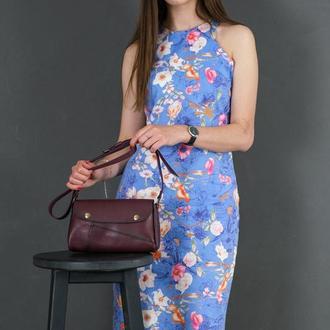 Шкіряна жіноча сумочка Френкі, шкіра італійський краст, колір бордо