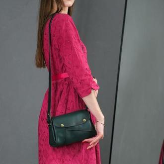Кожаная женская сумочка Френки, кожа итальянский краст, цвет зеленый