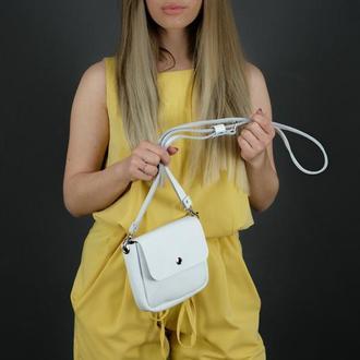 """Кожаная женская сумочка """"Макарун мини"""", гладкая кожа, цвет белый"""