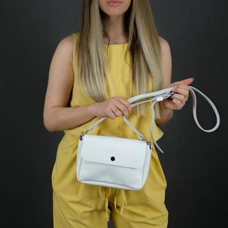 """Кожаная женская сумочка """"Макарун XL"""", гладкая кожа, цвет белый"""