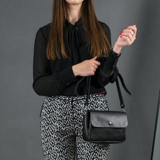 """Кожаная женская сумочка """"Макарун XL"""", кожа итальянский краст, цвет черный"""