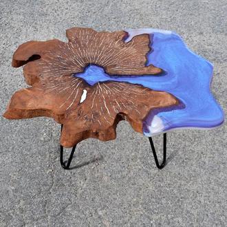 Журнальный столик из дерева и эпоксидной смолы, Кофейный стол, Стол река