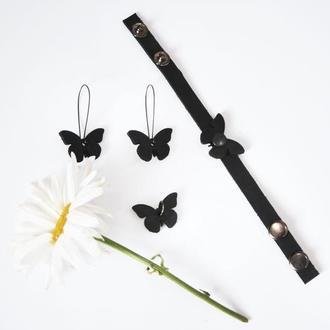 Кожаный браслет с бабочкой от мастерской Wild