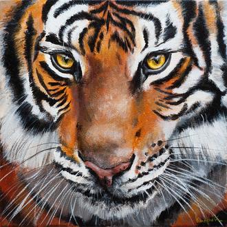 Тигр, портрет на холсте